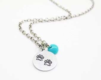 Paw Print Stamped Necklace