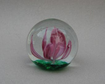 Vintage Elwood Blown Glass Paperweight Purple Flower Peacock Glass Works Indiana Spring Blossom Art Glass Paperweight