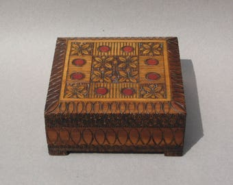 Polish Folk Art Carved Wood Box with Inlaid Brass & Pyrography Accents Wooden Keepsake Box with Hinged Lid Made in Poland