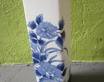 """Vintage Signed Japanese or Chinese Blue & White Tall Porcelain Square Vase Floral 11.75""""t x3""""d"""