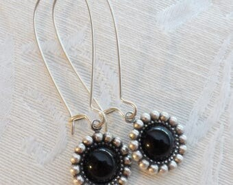 50% Off Clearance Sale, Black, Onyx, Vintage Glass Earrings