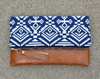 Blue tribal Foldover Clutch