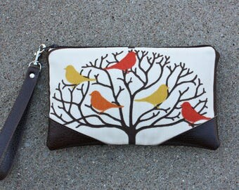 Clutch - Wristlet - Cosmetic Bag - Zipper Closure - Birds on Branches
