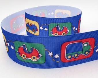 Cars Ribbon yardage - cute kids baby boy vehicles trucks blue grosgrain ribbon 1.5 inch wide primary colors