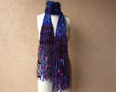 """Blue and Purple Scarf with Teal Turquoise Ribbon Scarf, Fringe, Navy and Maroon, Hand Knit Crickets Creations Scarf """"Midnight Lake"""""""