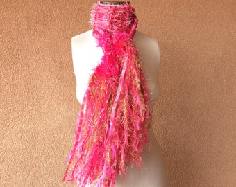 Hot Pink Scarf Metallic Gold Gift for Her Knit Accessories Bright Pink Scarf Scarf Hand Knit Scarf with Fringe Color Scarf