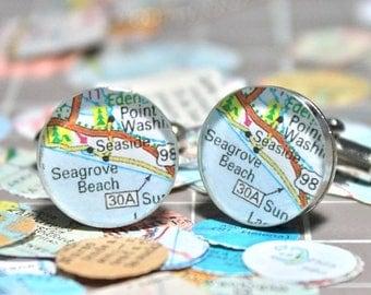 SUMMER SALE Seaside Florida Vintage Map Sterling Silver Round Cufflinks.