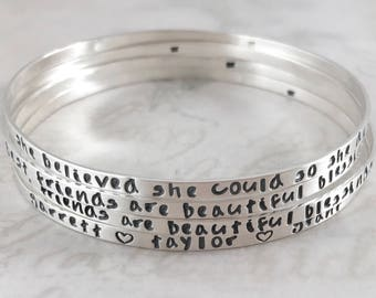 Womens gift, Inspirational solid sterling silver bangle bracelet, personalized, custom hand stamped, She believed she could so she did