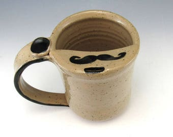 LEFT HANDED MUSTACHE Mug/Mustache Mug/Moustache Mug/Mustache Cup/Mustache Guard Mug 14-16 Ounces