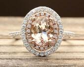 Custom Order for khubbard61 - Morganite and Diamond 2 tone ring