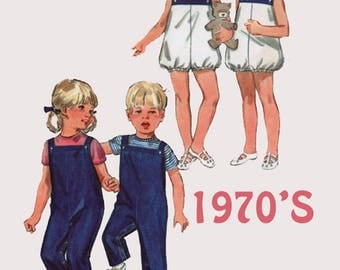 Vintage 1970s Toddler Bubble Playsuit or Jumpsuit Sewing Pattern Butterick 4922 Retro 70s Pattern Size 2 Breast 21