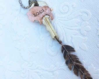 Buffalo Roam Feather Key Pendant