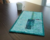 Mug Rug Placemat Modern Mini Quilt Turquoise Fabric Art Quilt Snack Lunch Mat Fiber Art Quilt Modern Home Decor Quilted Small Art Office