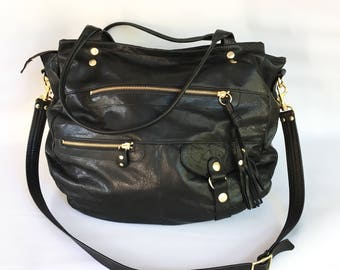 XL Okinawa leather bag in black
