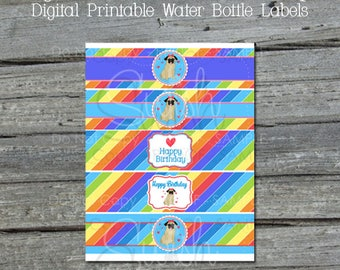 Rainbow Printable Water Bottle Labels | Digital Cup Water Bottle Wraps | Pug Dog Rainbow Party Ideas | Digital Download |Instant Download