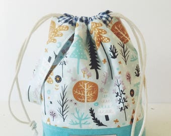 In the forest drawstring project bag/ knitting project bag/ craft bag / multi-purpose bag / drawstring bag// MADE TO ORDER