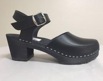 Professional black leather Medium Heel Mary Jane  w/ buckled ankle strap