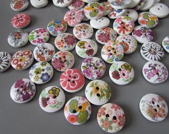 Wooden Flower Buttons X 10