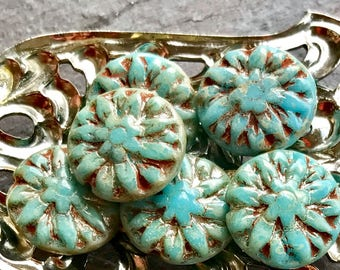 DAISIES - Opaque Turquoise glass with Beautiful Picasso Finish - Lentil Shaped Czech Glass Beads - 6 Beads