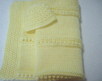 Hand Knit Baby Blanket and Hat Set   --  Lemon Yellow