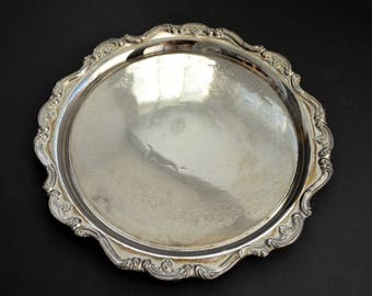 Vintage Round Serving Tray {Large Silver Tone Scalloped Edges Serving Platter Tray Ornate Engraved Hostess Gift Serving Tray in Chippendale}