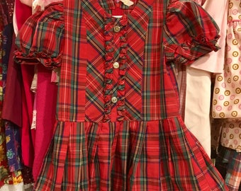 1980s Plaid Dress Toddlers 3/4
