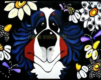 bernese mountain berner bmd  daisy whimsical garden blk wht  love gift butterfly  9x12  maggie brudos painting Original whimsical DOG art