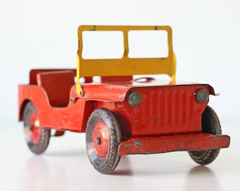 Vintage Red Jeep, Willy's Jeep, Marx Toys, Red and Yellow