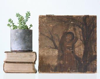 Vintage Box, Primitive Wood Box, Decoupaged, One of a Kind