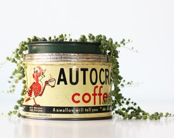 Vintage Autocrat Coffee Tin, Swallow Bird