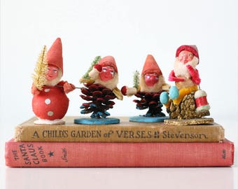 Vintage Christmas Gnomes, Set of 4 with red hats