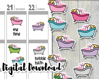 Printable planners stickers kit / me time, bubble bath, bath tub sticker download / DIY Erin Condre stickers / cute planner girl