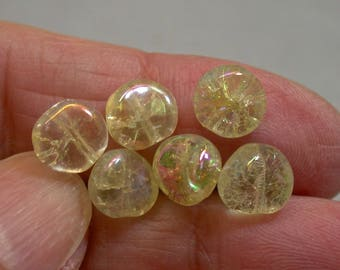 Vintage German Glass Beads Yellow Iridescent Aurora Borealis CRACKLE 8mm pkg6 gl867
