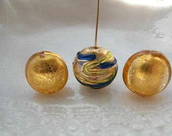 Three Murano Glass Lentil Beads