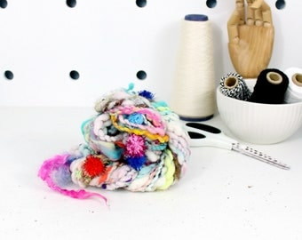 party pom pom 1    .. hand spun yarn, art yarn, handspun art yarn, wool yarn, boucle yarn, bulky yarn, handspun wool yarn