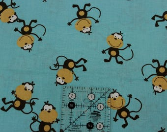 """Monkeys jumping on the bed  teal blue  100% cotton fabric 42"""" - 44"""" wide"""