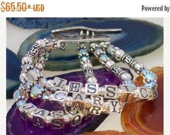 Personilized Name Bracelet, Mother Bracelet, Grandmother Bracelet, Sterling Silver, Swarovski Crystals