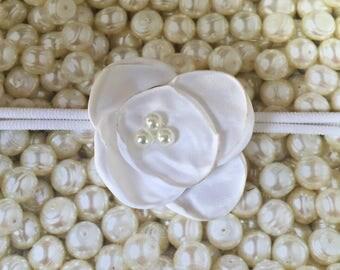 Preemie Headband, White Baby Headband, Small Bows, Baby Bows, Newborn headbands, Nylon Headbands,Baby hair bows, Flower Headband White Bow