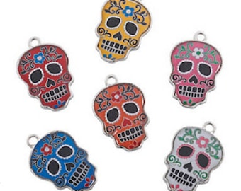 Day of the Dead Enamel Charms, set of 36