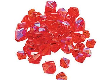 Ruby Aurora Borealis Cut Crystal Bicone Beads, 4mm to 6mm, pack of 48