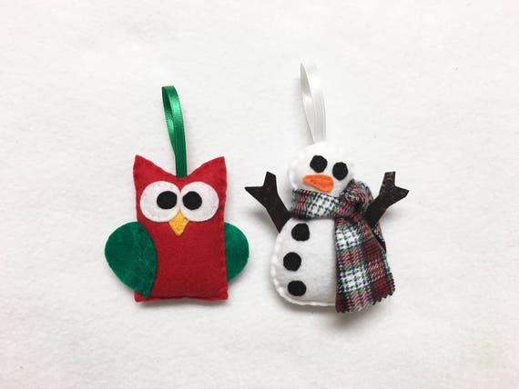 Snowman and Owl Ornaments, Set of Two Ornaments, Rustic Farmhouse Ornament Set