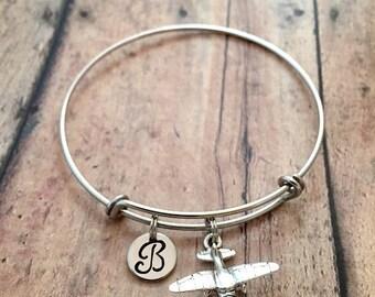 Piper cub initial bangle - piper cub jewelry, airplane jewelry, pilot bracelet, piper cub bracelet, silver airplane bracelet, pilot jewelry
