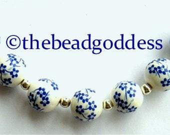 Sweet 10 Ceramic Beads BLUE & WHITE Tiny FLOWERS 9mm Round