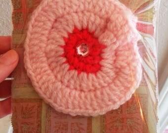 Crocheted Yarn COCKADE Cocarde Flower BROOCH, Pink, Red + Rhinestone, Handmade by Yael Bolender