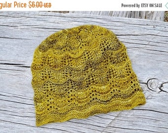 First Fall Sale - 15% Off PDF knitting pattern instant download for the Ginger Wave Sampler Hat - Knit Your Own Fine Knit Lace Beanie