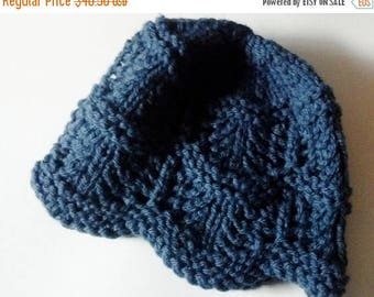 First Fall Sale - 15% Off Lace Knit Petal Cap in Denim Blue - The Naturalist's Hat - Mori Girl Winter Accessories - Woolly Hat