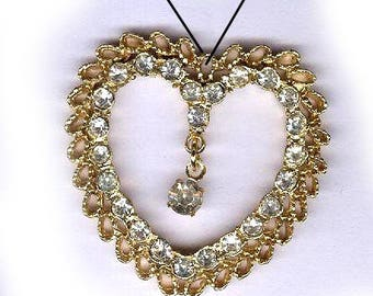 vintage heart rhinestone heart pendant goldtone with rhinestone drop valentines day subtle sparkle heart