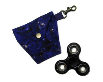 FIDGET SPINNER/EARBUDS case, Lined, padded, snap closure, lanyard hook, Gold stars on purple!