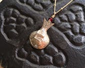 "God Pomegranate - Name of God Pomegranate Pendant - Armenian ""Eh"" Silver Pomegranate Pendant - Silver Pomegranate Necklace"