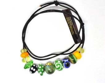 Handmade beads. Green bead set /necklace/bracelet for vikings